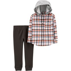Carters Baby Boys Plaid Hooded Jogger Pants Set