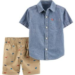 Carters Baby Boys Dinosaur Denim Button Down Shorts Set