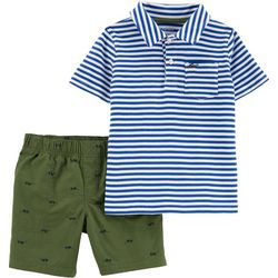 Carters Baby Boys Stripe Polo Sunglasses Shorts Set