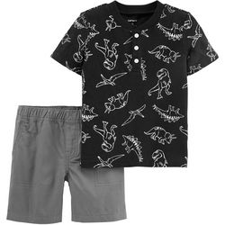 Carters Baby Boys Dinosaur Henley Shorts Set