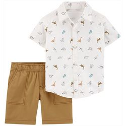 Carters Baby Boys Dino Button Front Shirt & Short Set