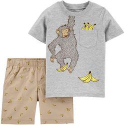 Carters Baby Boys Monkey Shorts Set
