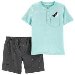 Carters Baby Boys Shark Pocket Henley Shorts Set