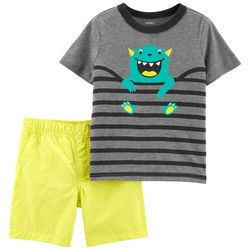 Carters Baby Boys Stripe Monster Shorts Set