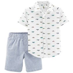 Carters Baby Boys Boat Button Down Stripe Shorts Set