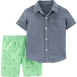 Carters Baby Boys Nautical Button Down Shorts Set