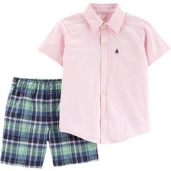 Carters Baby Boys Oxford Plaid Button Down Shorts Set