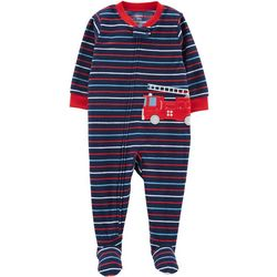 Carters Baby Boys Stripe Fire Truck Fleece Sleep & Play