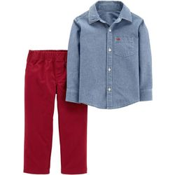 Carters Baby Boys Chambray Button Down Pants Set