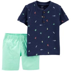 Carters Baby Boys Tropical Icon Henley Shorts Set