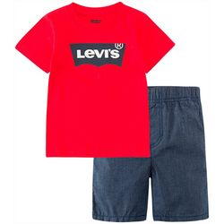 Levi's Baby Boys 2-pc. Batwing Logo Shorts Set