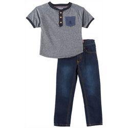 English Laundry Baby Boys Henley Pocket Jeans Set