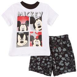 Disney Mickey Mouse Baby Boys Mickey Face Shorts Set