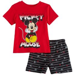 Disney Mickey Mouse Baby Boys Striped Shorts Set