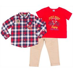 Little Lad Baby Boys 3-pc. Enjoy The Ride Pants Set