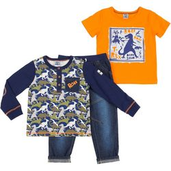 Little Lad Baby Boys 3-pc. Dino Roar Jeans Set