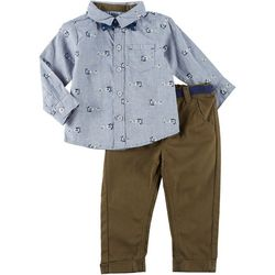 Little Lad Baby Boys 3-pc. Button Down Airplane Top Set
