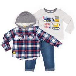 Little Lad Baby Boys 3-pc. Plaid Hoodie Set