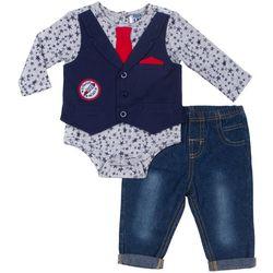Boys Rock Baby Boys Star Necktie Vest Bodysuit Set