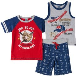 Little Lad Baby Boys 3-pc. Baseball Shorts Set
