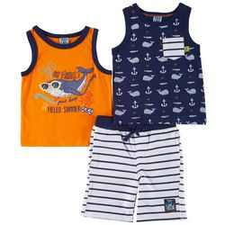 Little Lad Baby Boys 3-pc. Oh Whale Shorts Set
