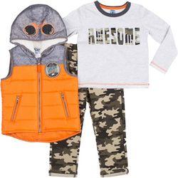 Little Lad Baby Boys 3-pc. Awesome Camo Pants & Vest Set