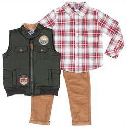 Little Lad Baby Boys 3-pc. Plaid Button Down & Vest Set