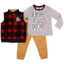 Little Lad Baby Boys 3-pc. Let's Go Play Top & Vest Set