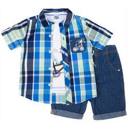 Little Lad Baby Boys 3-pc. Plaid Bicycle Shorts Set