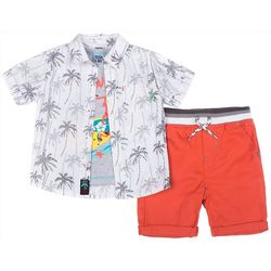 Little Lad Baby Boys 3-pc. Hawaii Button Down Shorts Set
