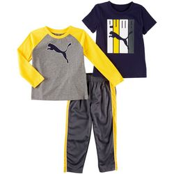 Puma Baby Boys 3-pc. Active Logo Raglan Pants Set