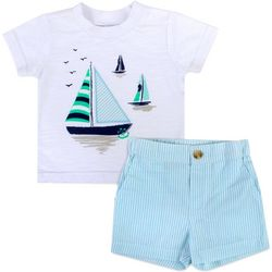 Sunshine Baby Baby Boys Sailboat Stripe Shorts Set