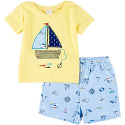 Sunshine Baby Baby Boys Boat Embroidery Shorts Set
