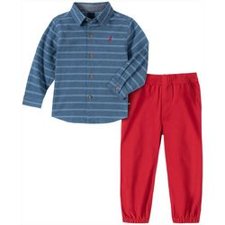 Nautica Baby Boys Chambray Button Down Jogger Pants Set