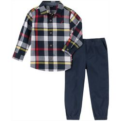 Nautica Baby Boys Plaid Button Down Jogger Pants Set