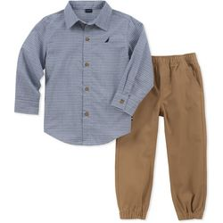 Nautica Baby Boys Stripe Button Down Jogger Pants Set