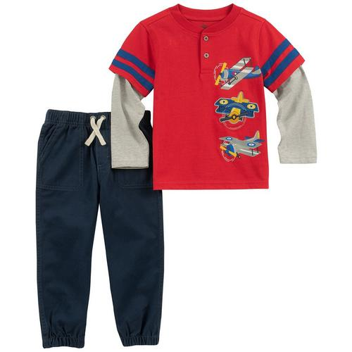 9dd08c9619cd Kids Headquarters Baby Boys Biplane Pants Set
