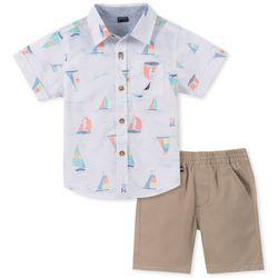 Nautica Baby Boys Boat Print Button Down Shorts Set