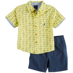 Nautica Baby Boys Fish Print Button Down Shorts
