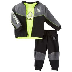 Reebok Baby Boys 3-pc. Colorblock Logo Jacket Pants Set
