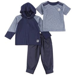 Body Glove Baby Boys 3-pc. Active Heathered Hoodie Pants Set