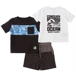 Body Glove Baby Boys 3-pc. Conquer The Ocean Shorts Set