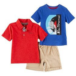 Ben Sherman Baby Boys 3-pc. Scooter Polo Shorts Set