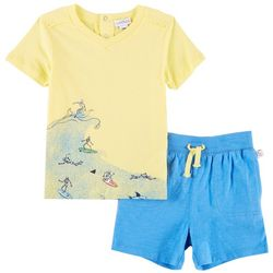 Flapdoodles Baby Boys Surfin' Skeletons Shorts Set
