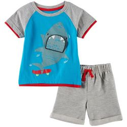 Little Rebels Baby Boys Shark Nom Shorts Set