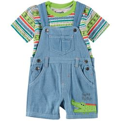 Little Rebels Baby Boys Alligator Shortalls Set