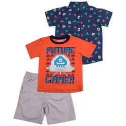 Little Rebels Baby Boys 3-pc. Future Gamer Shorts Set