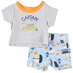 Little Beginnings Baby Boys Captain Adorable Shorts Set