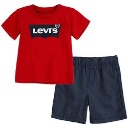Levi's Little Boys 2-pc. Batwing Logo Shorts Set