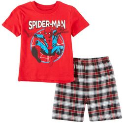 Marvel Spider-Man Little Boys Plaid Print Shorts Set